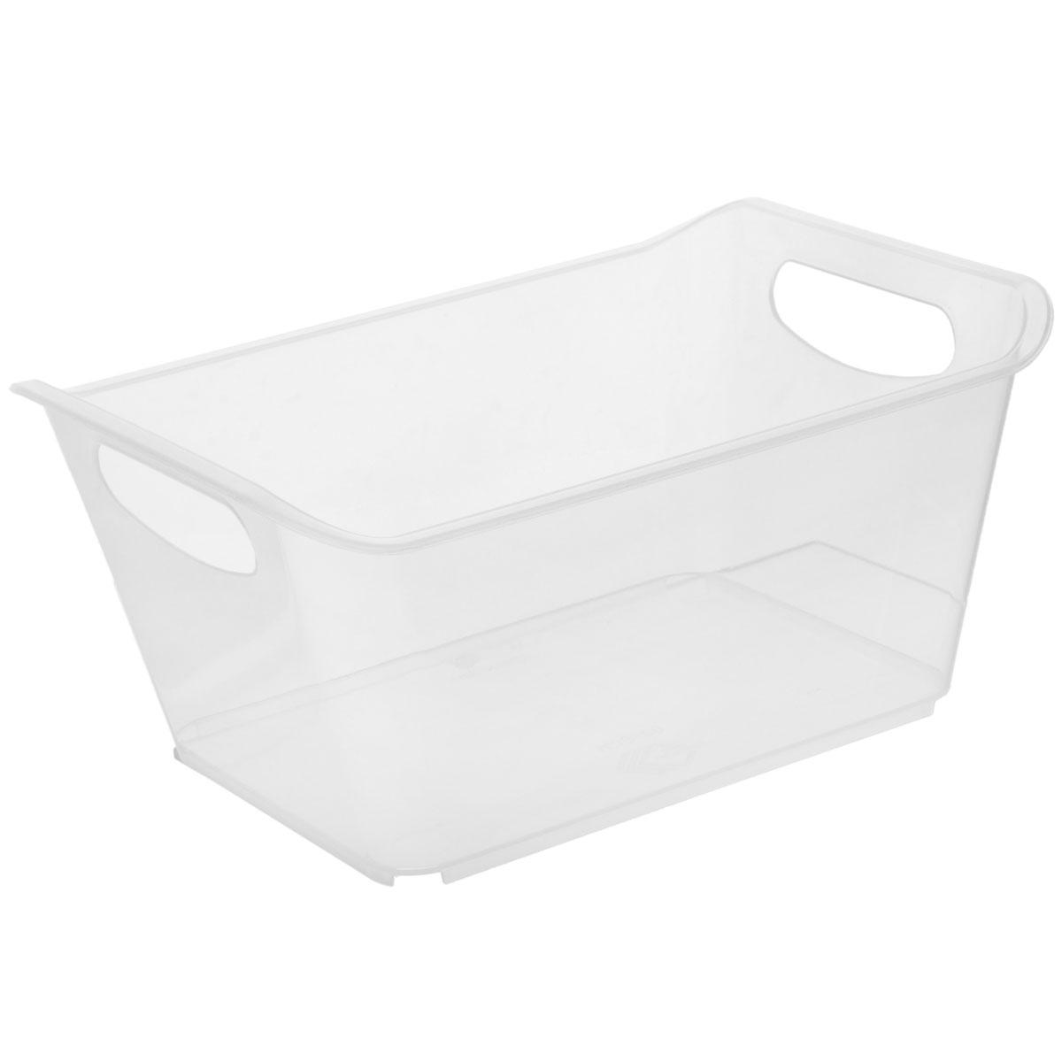 Контейнер Gensini, цвет: прозрачный, 27 х 19,5 х 12 смБрелок для ключейКонтейнер Gensini выполнен из прочного пластика. Он предназначен для хранения различных мелких вещей в ванной, на кухне, даче или гараже, исключая возможность их потери. По бокам контейнера предусмотрены две удобные ручки для его переноски.Контейнер поможет хранить все в одном месте, а также защитить вещи от пыли, грязи и влаги.