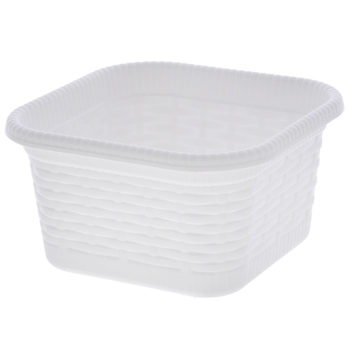 Корзина хозяйственная Gensini Rattan, цвет: белый, 15 х 15 х 8 см12723Корзина хозяйственная Gensini Rattan, выполненная из пластика, предназначена для хранения мелочей в ванной, на кухне, на даче или в гараже, исключая возможность их потери. Легкая воздушная корзина выполнена под плетенку и оснащена жесткой кромкой. Элегантный дизайн подойдет к интерьеру любого дома.