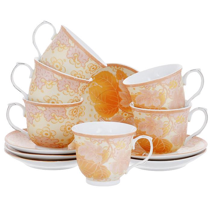 Набор чайный House & Holder, цвет: золотистый, 12 предметов115510Чайный набор House & Holder состоит из шести чашек и шести блюдец, выполненных из высококачественного фаянса. Внешняя поверхность предметов набора шероховатая. Изделия оформлены изящным цветочным рисунком в золотисто-розовых оттенках. Изящный набор эффектно украсит стол к чаепитию и порадует вас функциональность и ярким дизайном. Диаметр блюдца: 14 см. Объем чашки: 250 мл. Диаметр чашки (по верхнему краю): 9 см. Высота чашки: 7,5 см.