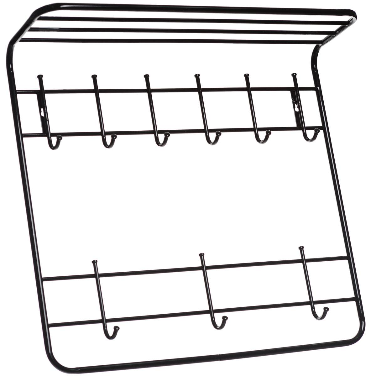 Вешалка ЗМИ, 2-х ярусная, цвет: черный, 80 х 75 х 20 смВСП 9Металлическая вешалка с полимерным покрытием ЗМИ имеет два яруса крючков. Первый ярус имеет 3 крючка, на которые удобно вешать сумки и зонты. Второй ярус имеет 6 крючков, предназначенных для одежды и шарфов. Вешалка оснащена полкой, на которой можно поместить шапки и перчатки. Крепится к стене при помощи двух шурупов (не входят в комплект).Вешалка ЗМИ идеально подходит для маленьких прихожих и ограниченных пространств. Размер вешалки: 80 см х 75 см х 20 см.
