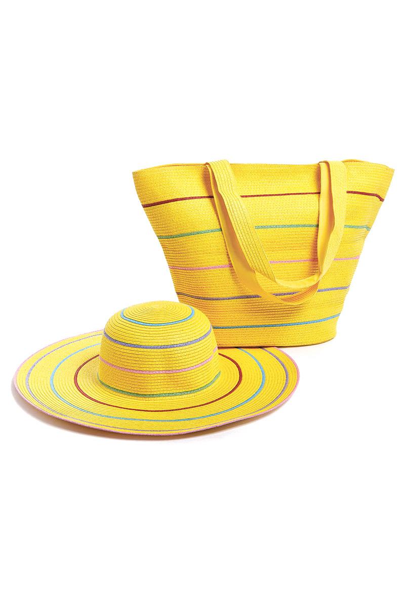 Комплект Moltini: сумка, шляпа, цвет: желтый. 15T021S76245Оригинальный пляжный комплект Moltini, состоящий из сумки и шляпы, выполнен из плотного текстиля. Комплект выполнен в едином стиле и оформлен яркими цветами.Сумка состоит из одного вместительного отделения и закрывается на магнитную кнопку. Внутри размещены два накладных кармана для телефона и мелочей и один вшитый карман на молнии. Оригинальная форма ручек и натуральные материалы делают эту сумку особенно удобной для ношения на плече.Шляпа надежно защитит волосы и лицо от ярких солнечных лучей. Шляпа выполнена в едином стиле с сумкой и достойно завершит комплект.Комплект Moltini идеально подойдет для похода на пляж, для загородной поездки.
