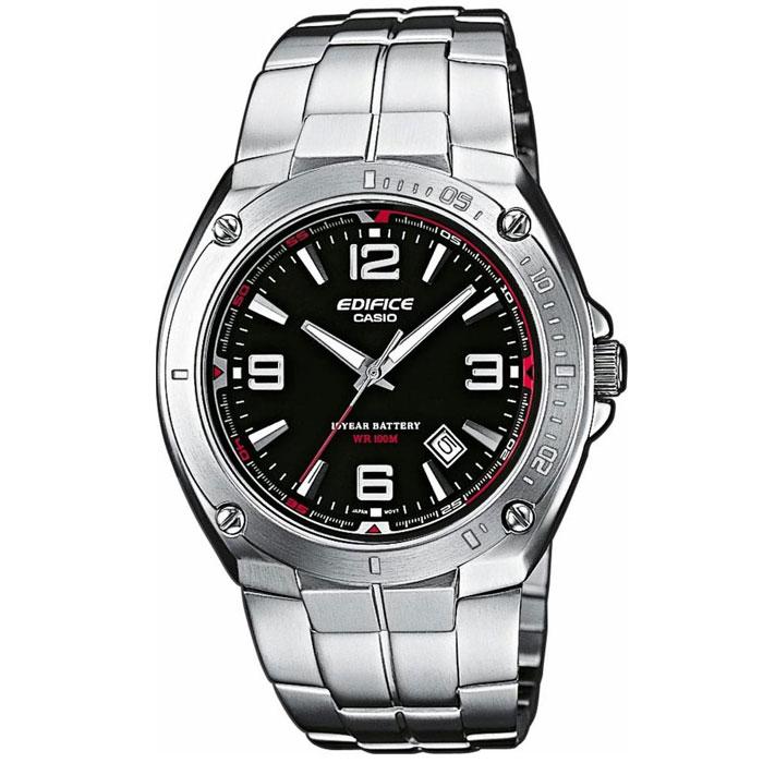 Наручные часы Casio EF-126D-1ABM8434-58AEМужские часы Casio EF-126D.Светящееся покрытие обеспечивает длительную подсветку в темное время суток после короткого воздействия света.Прочное, устойчивое к царапинам минеральное стекло защищает часы от повреждений.Резьбовое соединение на основании корпуса оптимально защищает внутренний механизм часов и одновременно обеспечивает легкий доступ, например, при замене аккумулятора.Надежный, прочный и элегантный: браслет из нержавеющей стали придает Вашим часам классический вид.Всегда надежно: у этих часов есть особая безопасная предохранительная защелка, которая помогает предотвратить случайное расстегивание ремешка.Десять лет - один аккумулятор. Новые разработки в электронике обеспечивают значительно более низкое потребление энергии.Идеально подходит дляплавания с маской и трубкой: часы являются водонепроницаемыми до 10 Бар/на глубине до 100 метров. Значение метров не относится к глубине погружения, но относится к атмосферному давлению, используемого в процессе испытания на водонепроницаемость. (ISO 2281)