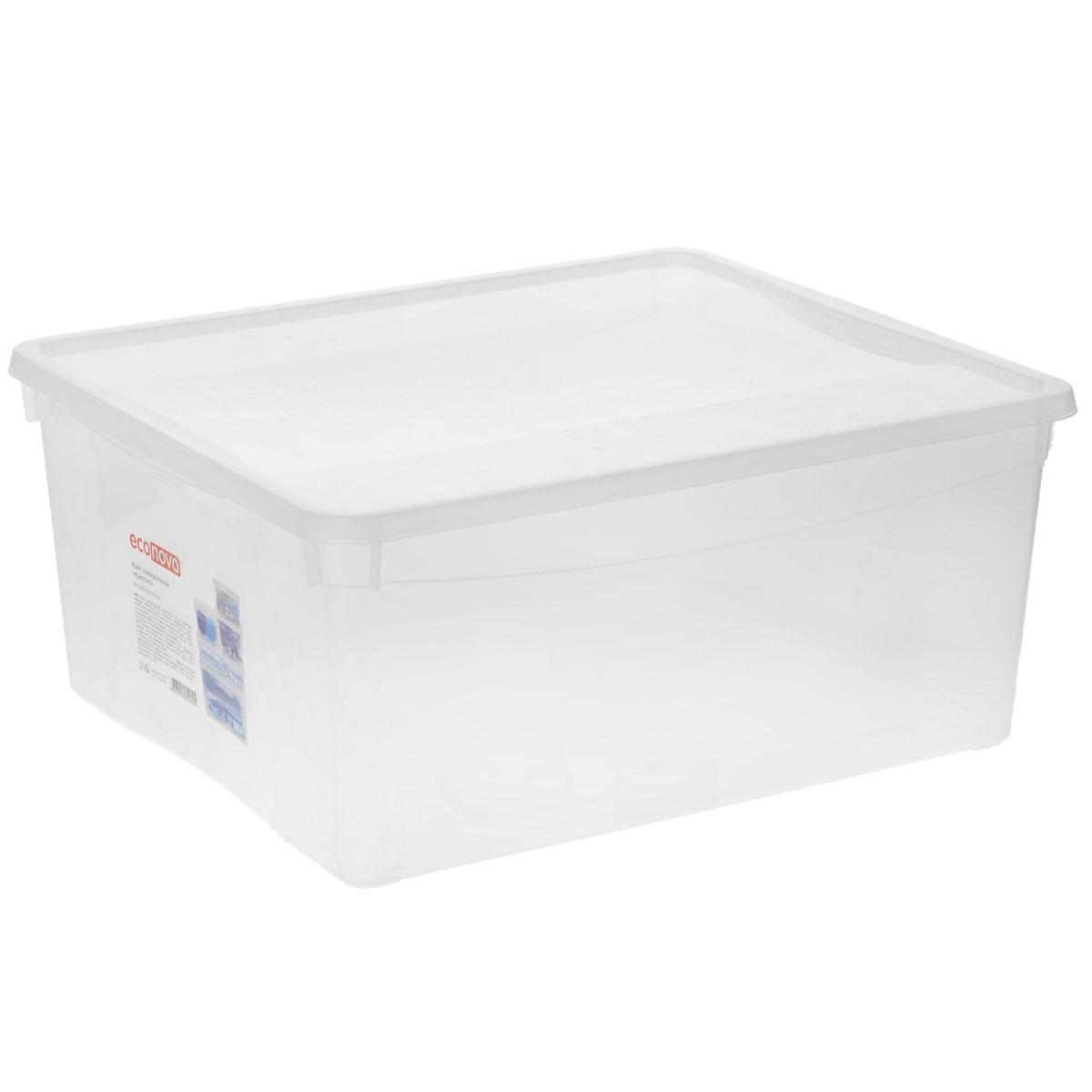Ящик универсальный Econova Кристалл, 40 х 33,5 х 17 смС12493Прямоугольный ящик Econova Кристалл выполнен из высококачественного прозрачного полипропилена. Ящик плотно закрывается крышкой и оснащен ручками. Подходит для хранения одежды и различных бытовых вещей. Ящик Econova Кристалл очень вместителен и поможет вам хранить все необходимое в одном месте. Объем: 18 л.