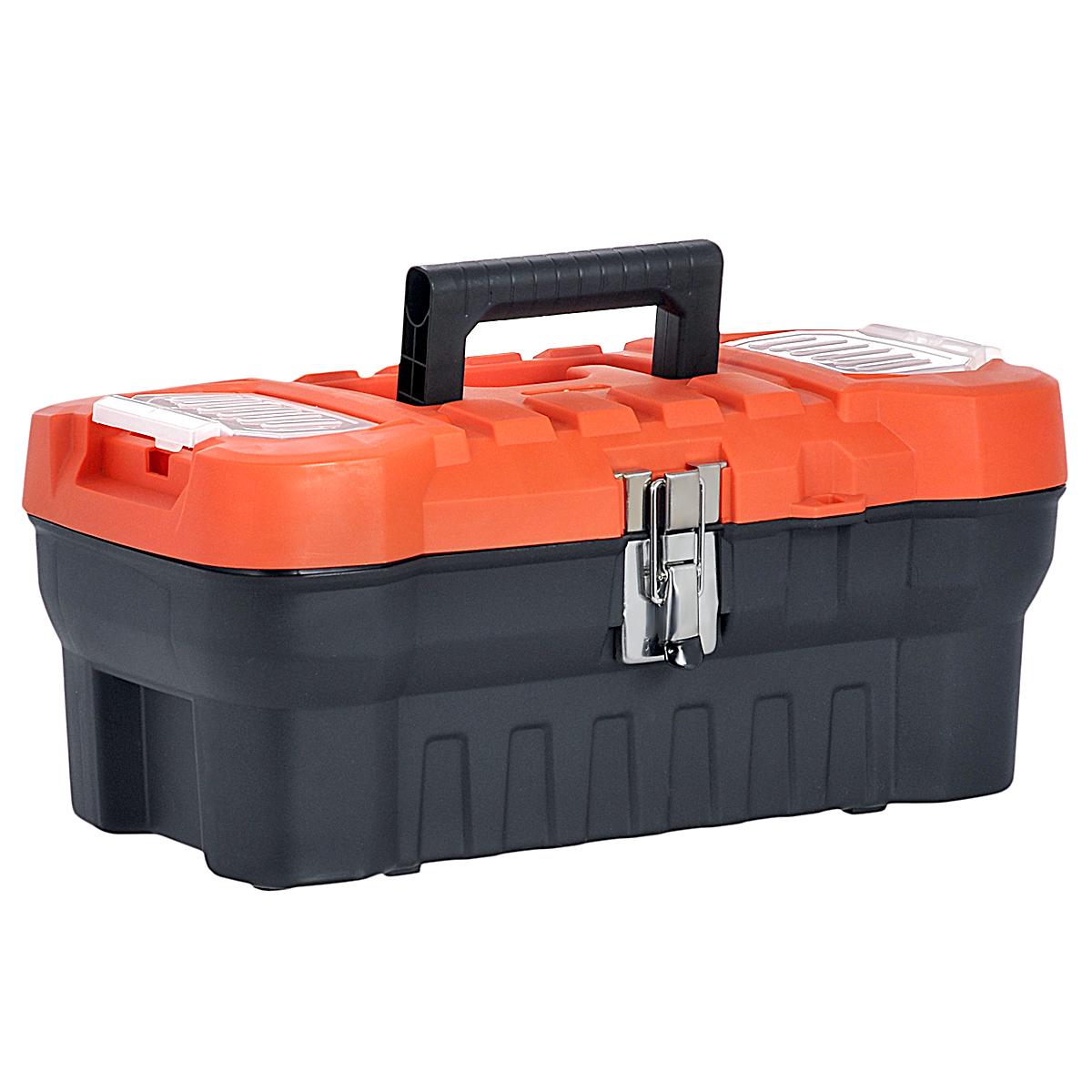 Ящик для инструментов Blocker Expert 16, с органайзером, цвет: черный, оранжевый, 41 х 21 х 17,5 см98298130Ящик Blocker Expert 16 изготовлен из прочного пластика и предназначен для хранения и переноски инструментов. Также ящик подходит для хранения рыболовных снастей, рукоделия и медикаментов. Вместительный ящик внутри имеет большое главное отделение. В комплект входит съемный лоток с ручкой для инструментов. Для более комфортного переноса в руках, на крышке предусмотрена удобная ручка. Крышка ящика оснащена двумя прозрачными органайзерами, которые закрываются на защелку.Ящик закрывается при помощи металлического замка, который не допускает случайного открывания. Размер лотка: 39 см х 16 см х 5 см. Размер органайзера: 12 см х 6,5 см.