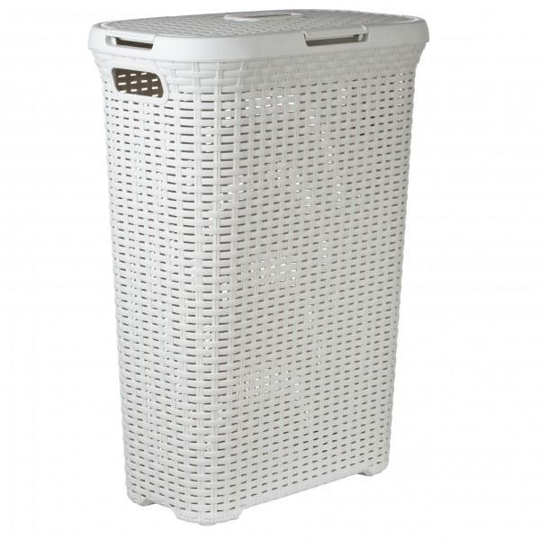 Корзина для белья РАТТАН, цвет: молочный, 40 л41619Практичная и эстетичная корзина для белья серии Rattan Style - это идеальный выбор для ценителей эстетики и удобства. Привлекательный вид, фактура, напоминающая ротанг, позволит украсить ванную комнату или прачечную в соответствии с новейшими тенденциями, а легкая ажурная конструкция позволяет циркуляцию воздуха.