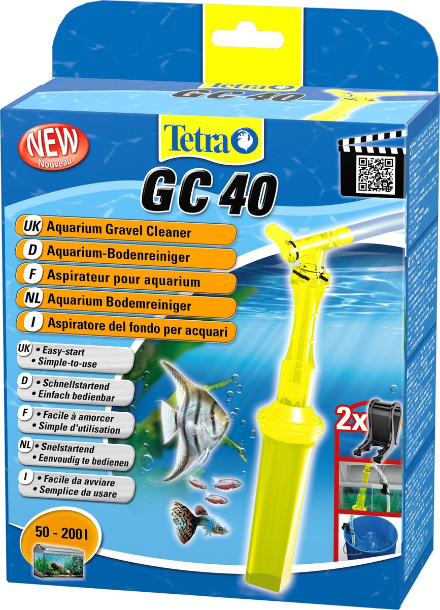 Грунтоочиститель для аквариумов Tetra GC 40 средний, 50-200 л0120710Удобный, простой в использовании сифон для грунта.В комплект входит шланг длиной 180 см и две фиксирующие клипсы;Мощный клапан закачки воды;Защитная сетка позволяет избежать засасывания рыб и грунта;Новая поворотная ручка позволяет использовать сифон без перекручивания шланга;Конструкция наконечника позволяет очистку всех труднодоступных углов аквариума, в том числе, возле стекла;Удобная ручка для безопасного использования;Долгая эксплуатация.Гарантия 2 года.