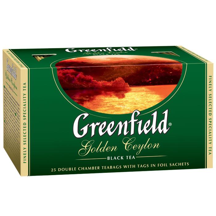 Greenfield Golden Ceylon черный чай в пакетиках, 25 шт0120710Яркий аромат и благородный вкус цейлонского чая покорили мир. Неповторимое очарование ценного плантационного чая Greenfield Golden Ceylon заключено в его гармоничном букете, сочетающем тонкие оттенки с силой и полнотой вкуса, который доставит истинное удовольствие ценителям.