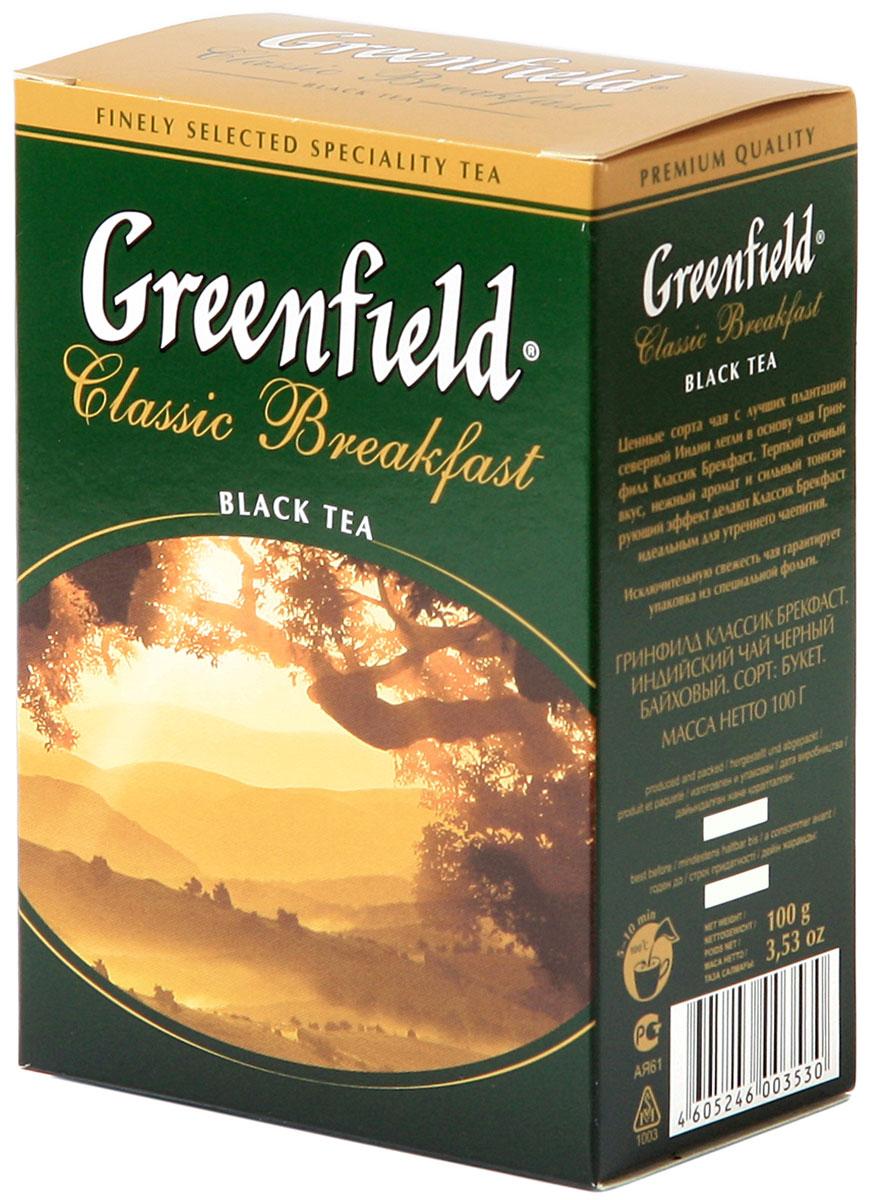 Greenfield Classic Breakfast черный листовой чай, 100 г21149036Ценные сорта чая с лучших плантаций северной Индии легли в основу Greenfield Classic Breakfast. Терпкий сочный вкус, нежный аромат и сильный тонизирующий эффект делают Greenfield Classic Breakfast идеальным для утреннего чаепития.