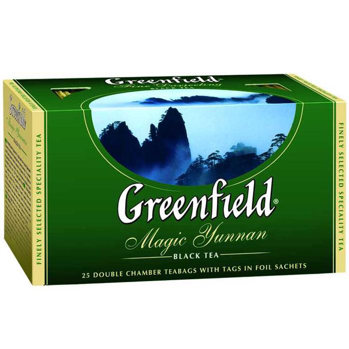 Greenfield Magic Yunnan черный чай в пакетиках, 25 шт0356-15Особенный черный чай Greenfield Magic Yunnan со знаменитой высокогорной китайской плантации поражает неожиданным сочетанием двух изысканных вкусовых нот - дымного аромата и легкого оттенка чернослива. Неповторимый вкус чая Greenfield Magic Yunnan волнует душу и питает воображение.