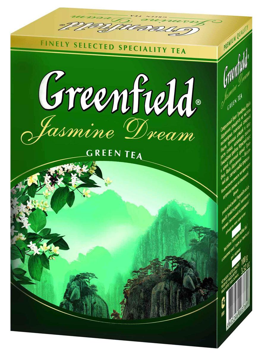 Greenfield Jasmine Dream зеленый ароматизированный листовой чай, 100 г0120710Жасминовый чай ценится за особенный бодрящий эффект. Воздушный аромат жасмина подчеркивает чистый, освежающий вкус благородного зеленого чая из провинции Юньнань.Вместе с Greenfield Jasmine Dream приходит весеннее настроение!