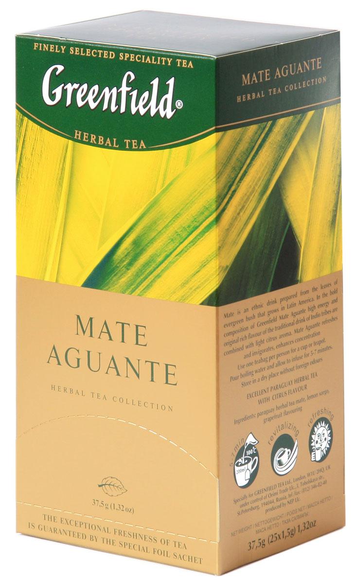 Greenfield Mate Aguante травяной чай в пакетиках, 25 шт0431-10Этнический напиток Greenfield Mate Aguante из листьев латиноамериканского вечнозеленого кустарника. В смелой композиции Greenfield Mate Aguante высокая энергетика и своеобразный густой вкус традиционного напитка индейцев гуарани сочетаются с легким цитрусовым оттенком. Помогает снять усталость, бодрит, способствует концентрации внимания.