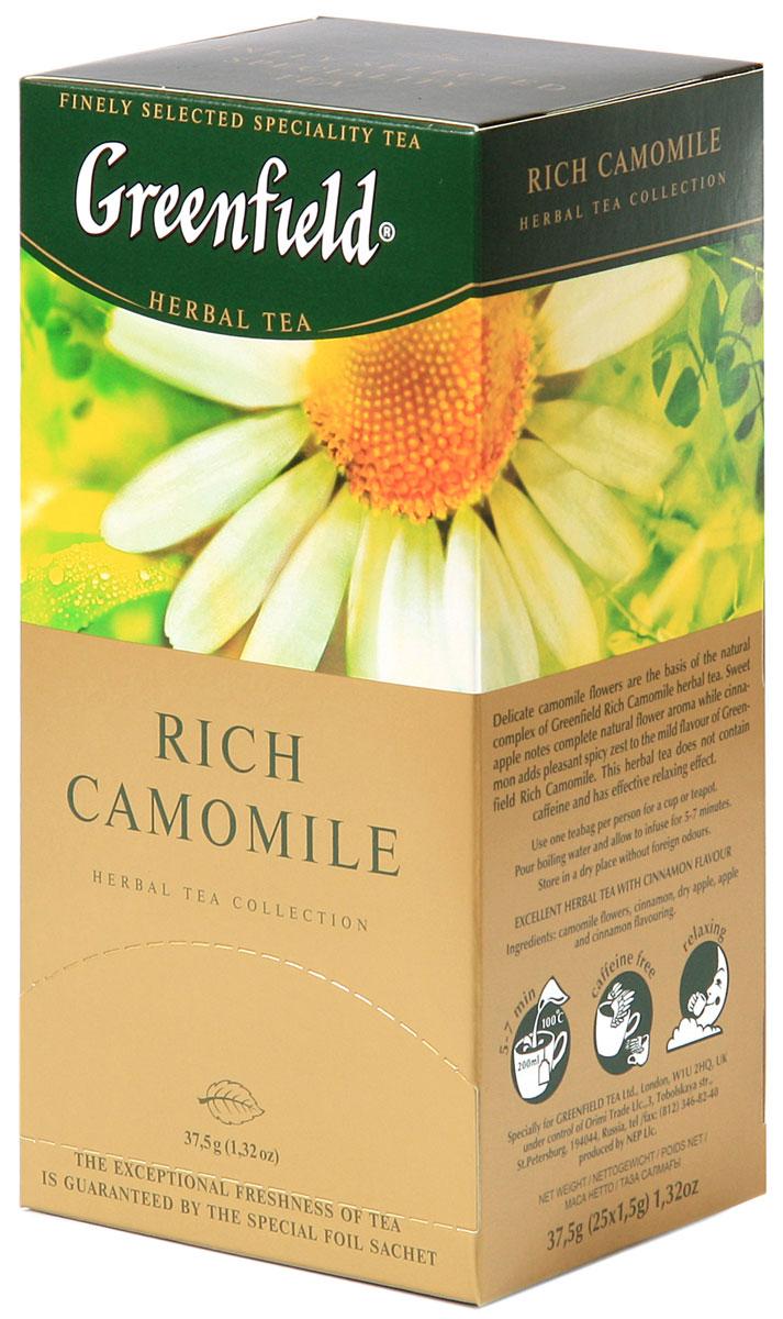 Greenfield Rich Camomile травяной чай в пакетиках, 25 шт0120710Основу природного комплекса травяного чая Greenfield Rich Camomileсоставляют нежные цветы ромашки. Сладковатый оттенок сушеных яблок дополняет естественный цветочный вкус, а корица вносит приятную остроту в мягкую гамму Greenfield Rich Camomile . Не содержит кофеина, способствует релаксации.