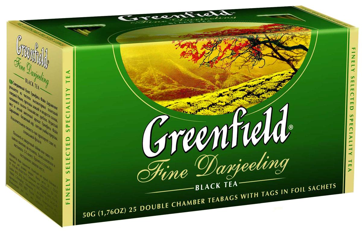 Greenfield Fine Darjeeling черный чай в пакетиках, 25 шт0120710Совершенный букет Greenfield Fine Darjeeling рождается из чистоты высокогорных плантаций северной Индии, прохлады дождей и щедрости солнца, ласкающего склоны Гималайских хребтов. Игристый вкус и легкий цветочный аромат Greenfield Fine Darjeeling - бесценный дар, светлая улыбка природы.Именно на высокогорных плантациях, расположенных на высоте до 2000 метров над уровнем моря, выращивают один из лучших в мире сортов чая - Дарджилинг, который иногда называют шампанское чая. Файн Дарджилинг обладает янтарно-светлым настоем, исключительным букетом и уникальным вкусом с легким мускатным оттенком. Дарджилинг можно определить не только по вкусу, но и по внешнему виду чаинок - они имеют неравномерную черно-зеленую окраску из-за особенностей выращивания и изготовления чая.