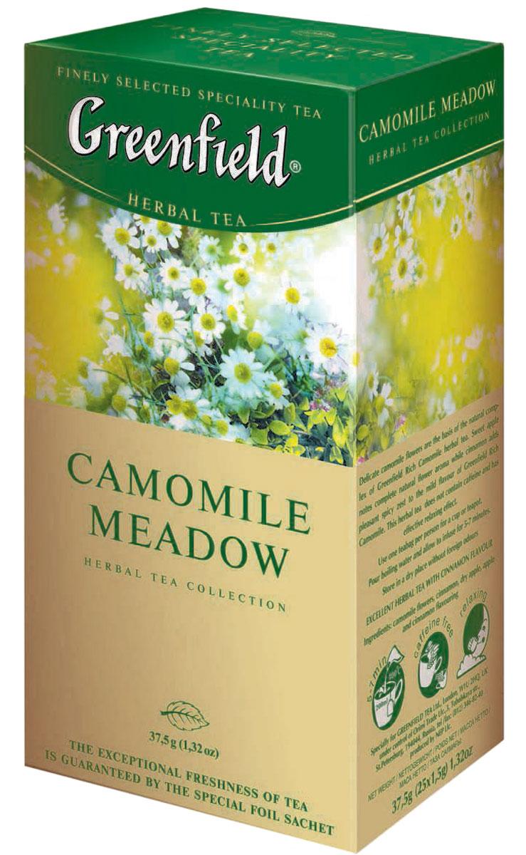 Greenfield Camomile Meadow травяной чай в пакетиках, 25 шт0120710Травяной чай Greenfield Camomile Meadow из нежных цветов ромашки с шиповником, мелиссой и ароматом личи. Мягкий цветочный вкус в букете ромашкового чая Камомайл Медоу оживлен тонкими пряными нотами душистой мелиссы. Неожиданный акцент - дерзкий и жизнерадостный аромат личи - создает ощущение пленительной свежести и чистоты. Ромашка является сильным естественным антисептиком и природным профилактическим средством против простудных заболеваний. Не содержит кофеина, способствует релаксации.