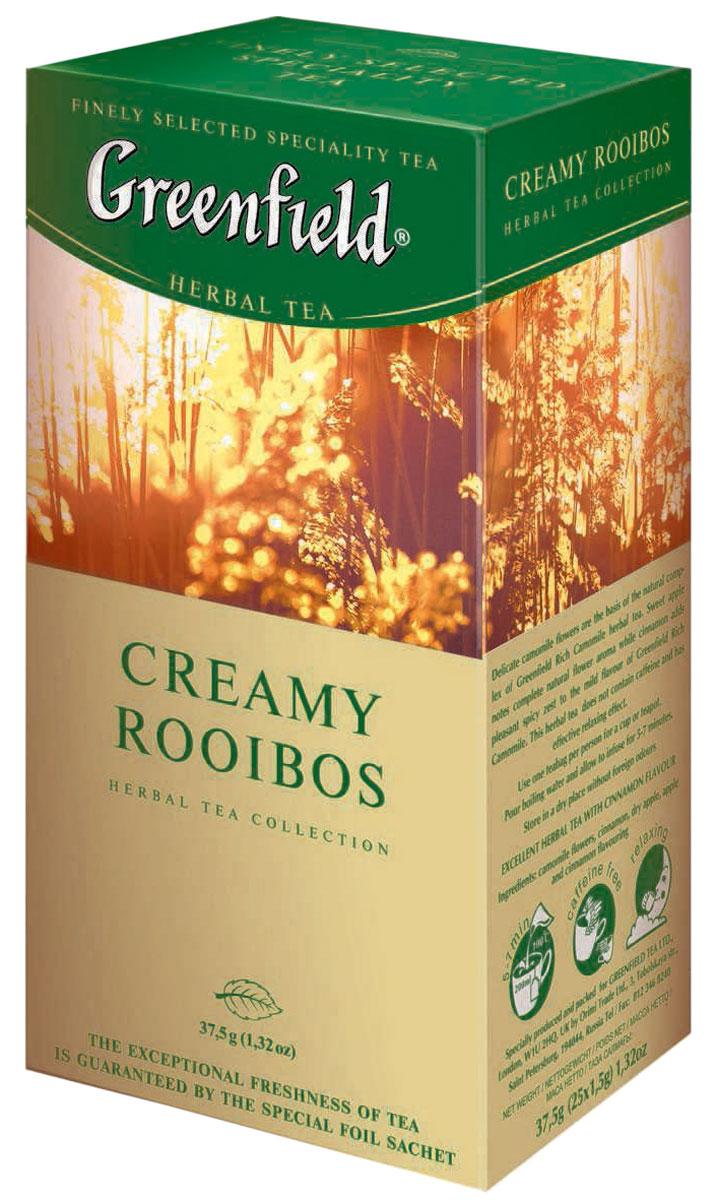 Greenfield Creamy Rooibos травяной чай в пакетиках, 25 шт0120710Естественный сладковатый вкус этнического напитка Greenfield Creamy Rooibos из молодых побегов южноафриканского кустарника ройбош становится еще более выразительным благодаря тонкому, едва уловимому оттенку ванили. Яркий аромат апельсина подчеркивает свежесть природного букета. Не содержит кофеина, является природным антиоксидантом, хорошо утоляет жажду и снимает напряжение.