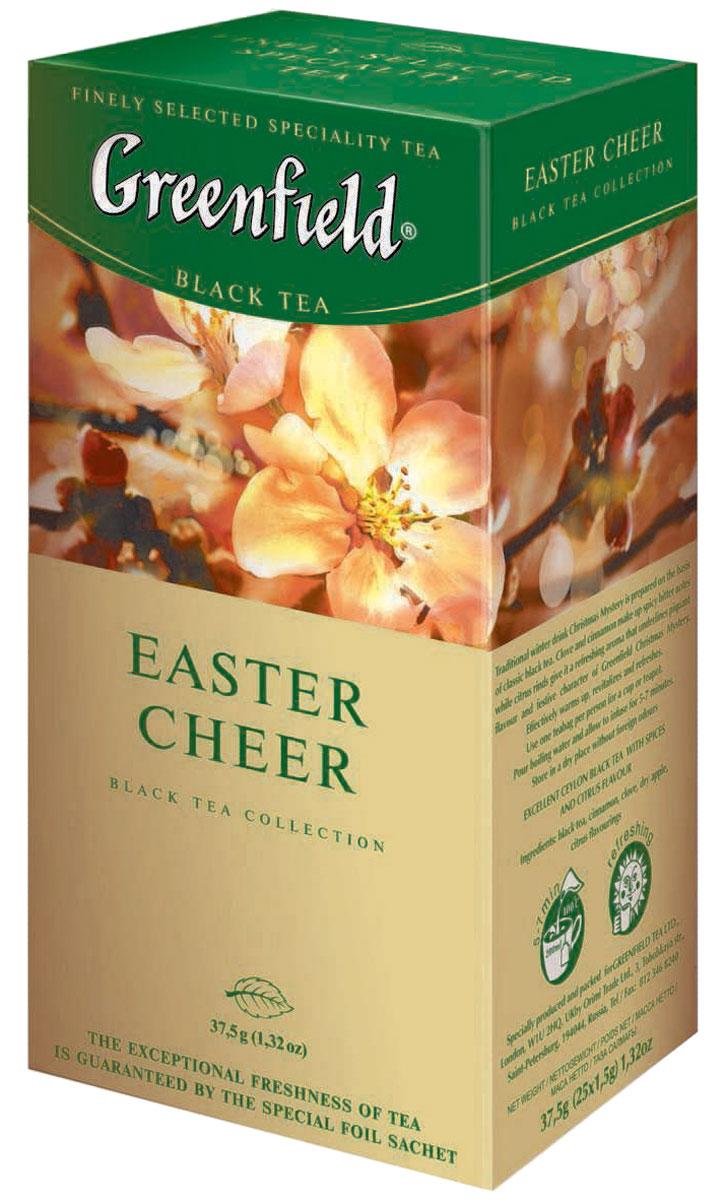 Greenfield Easter Cheer черный чай в пакетиках, 25 шт0120710Вся природная сила и глубина великолепного черного чая с лучших плантаций Индии воплощается в многогранном букете Greenfield Easter Cheer. Насыщенный, но мягкий вкус играет множеством сложных оттенков, а яркий радостный аромат, усиленный теплой волной ванили и острыми цитрусовыми искорками, напоминает о вечном обновлении ликующей природы. Хорошо тонизирует и освежает.