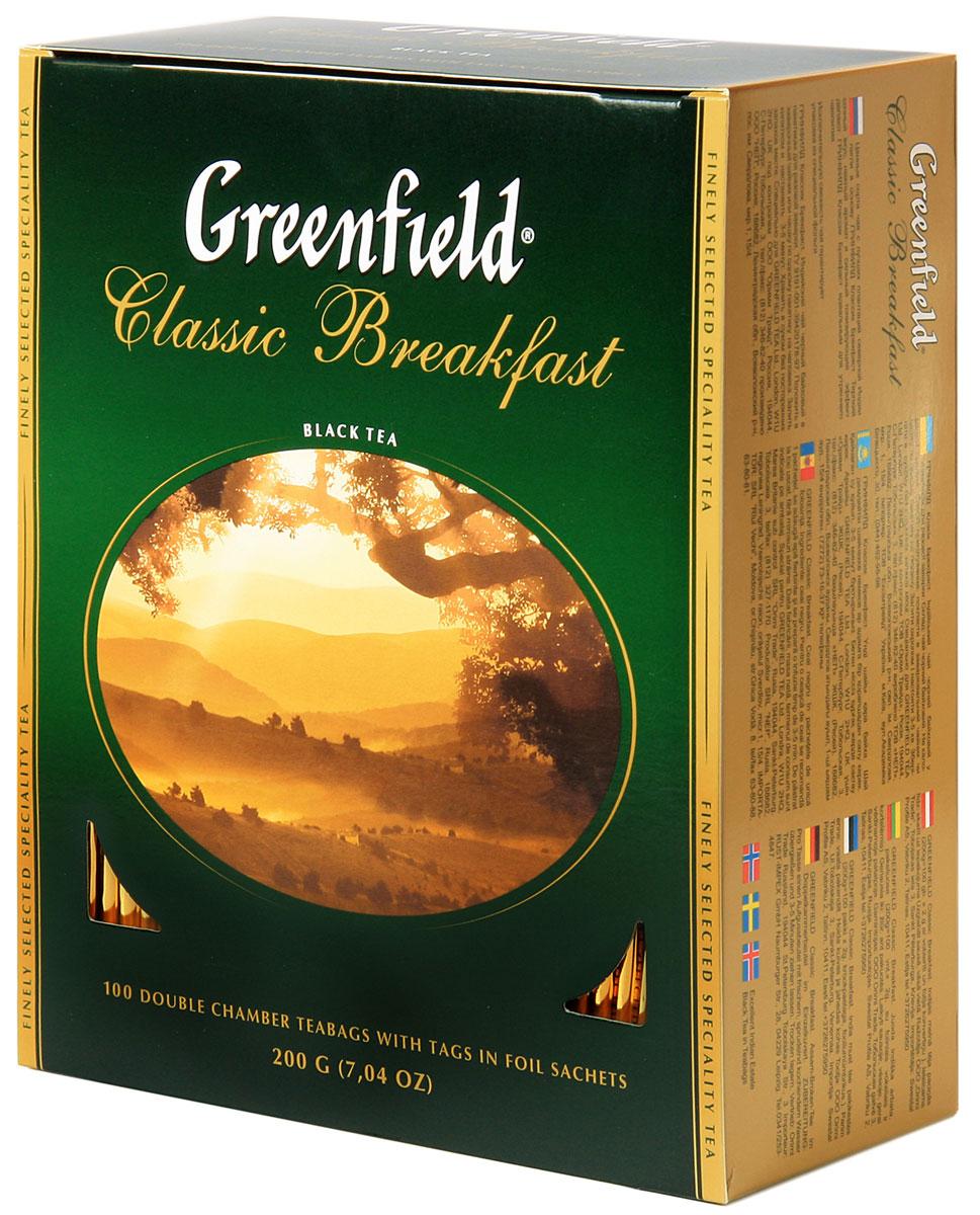 Greenfield Classic Breakfast черный чай в пакетиках, 100 шт0120710Ценные сорта чая с лучших плантаций северной Индии легли в основу Greenfield Classic Breakfast. Терпкий сочный вкус, нежный аромат и сильный тонизирующий эффект делают Greenfield Classic Breakfast идеальным для утреннего чаепития.