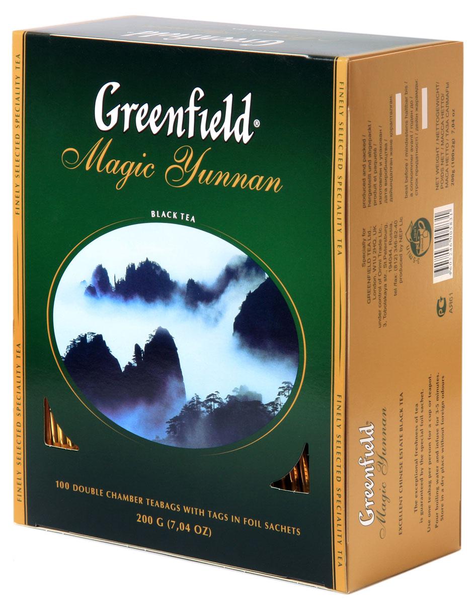 Greenfield Magic Yunnan черный чай в пакетиках, 100 шт0120710Особенный черный чай Greenfield Magic Yunnan со знаменитой высокогорной китайской плантации поражает неожиданным сочетанием двух изысканных вкусовых нот - дымного аромата и легкого оттенка чернослива. Неповторимый вкус чая Greenfield Magic Yunnan волнует душу и питает воображение.