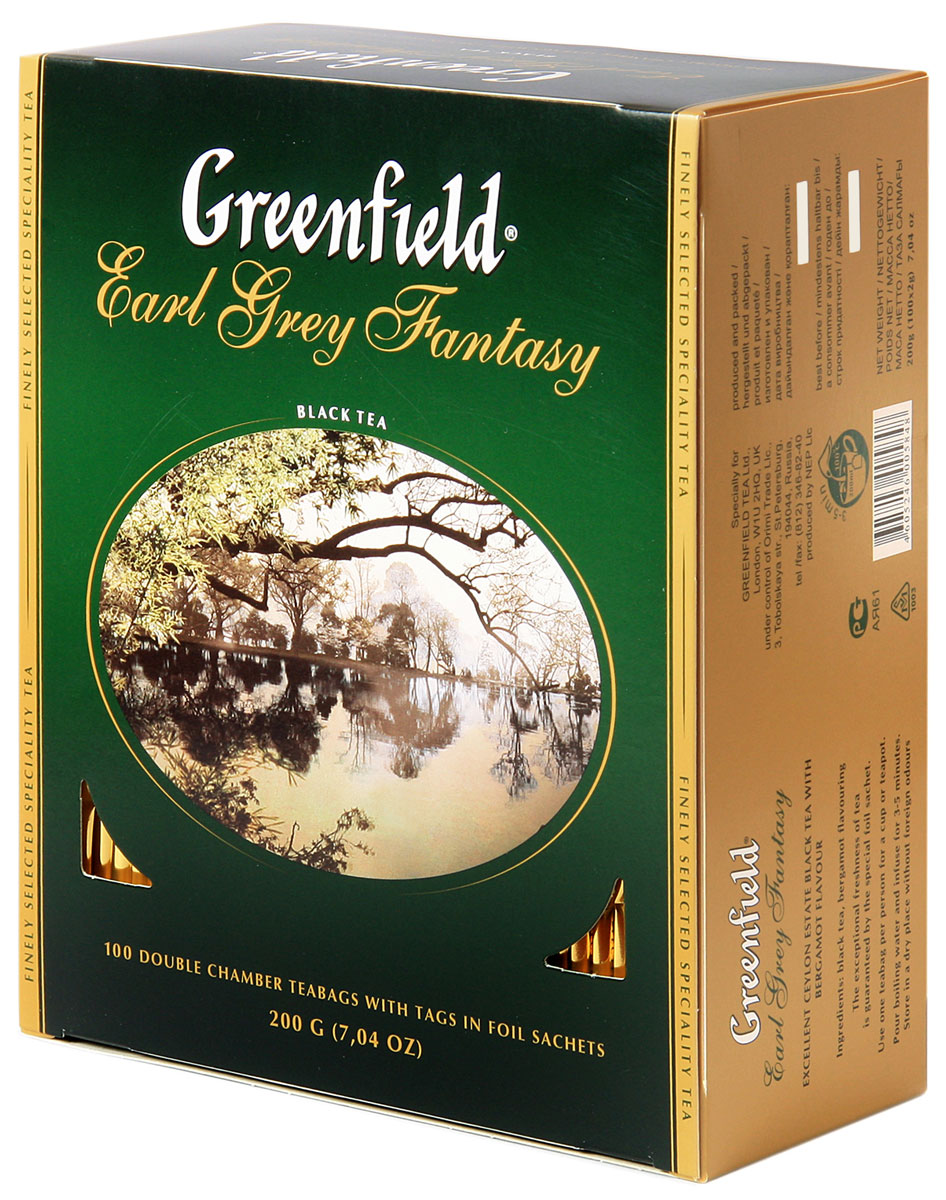 Greenfield Earl Grey Fantasy черный ароматизированный чай в пакетиках, 100 шт0120710Легкий шлейф цитрусовых ароматов придает особую выразительность изящной композиции Greenfield Earl Grey Fantasy. Освежающий оттенок бергамота акцентирует вкус элитного черного чая в изысканном букете Greenfield Earl Grey Fantasy. Он идеально подходит для послеполуденного и вечернего чаепития.