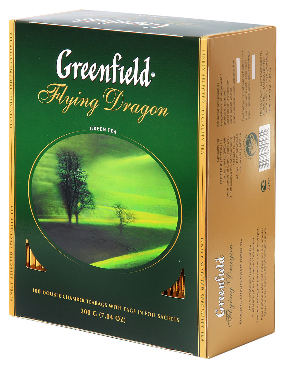 Greenfield Flying Dragon зеленый чай в пакетиках, 100 шт0120710Тысячелетняя традиция создания китайского зеленого чая продолжается в благородном плантационном чае Greenfield Flying Dragon. Классический мягкий вкус и тонкий цветочный аромат чая Greenfield Flying Dragon освежает, придает сил, и оказывает благотворное влияние на организм.
