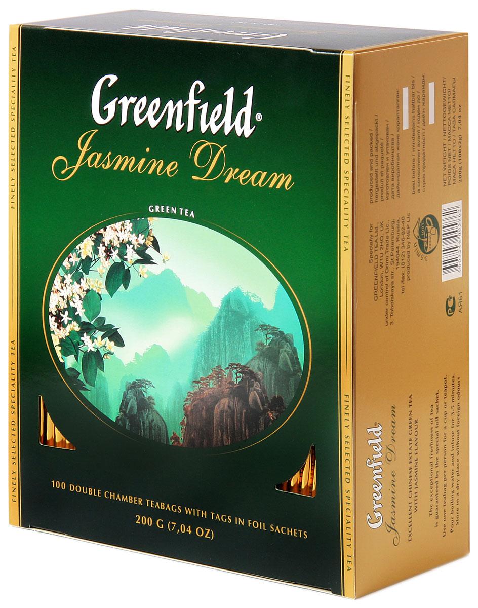Greenfield Jasmine Dream зеленый ароматизированный чай в пакетиках, 100 шт0120710Жасминовый чай ценится за особенный бодрящий эффект. Воздушный аромат жасмина подчеркивает чистый, освежающий вкус благородного зеленого чая из провинции Юньнань.Вместе с Greenfield Jasmine Dream приходит весеннее настроение!