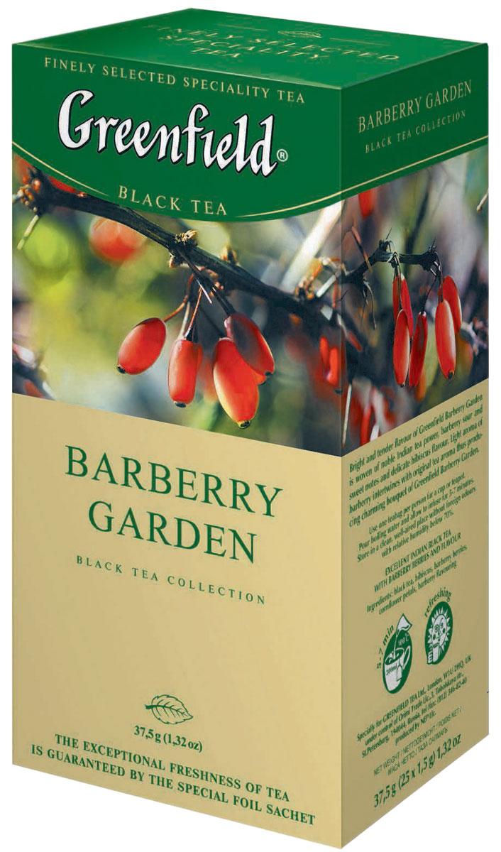 Greenfield Barberry Garden черный чай в пакетиках, 25 шт0120710Яркий и нежный вкус Greenfield Barberry Garden соткан из силы благородного индийского чая, кисловато-сладких нот барбариса и легких оттенков гибискуса. Душистый аромат барбариса переплетается с естественным чайным ароматом, придавая трогательное очарование букету Greenfield Barberry Garden.