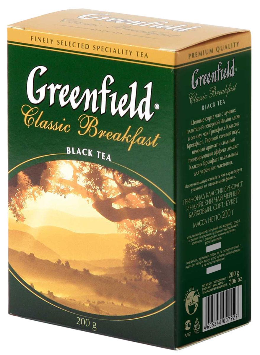 Greenfield Classic Breakfast черный листовой чай, 200 г0120710Ценные сорта чая с лучших плантаций северной Индии легли в основу Greenfield Classic Breakfast. Терпкий сочный вкус, нежный аромат и сильный тонизирующий эффект делают Greenfield Classic Breakfast идеальным для утреннего чаепития.