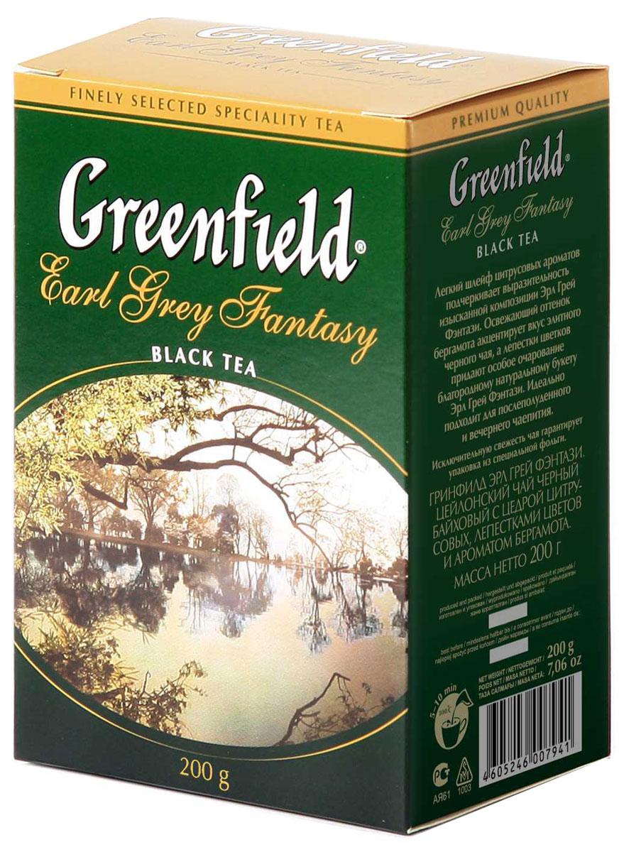 Greenfield Earl Grey Fantasy черный листовой чай, 200 г0120710Легкий шлейф цитрусовых ароматов придает особую выразительность изящной композиции Greenfield Earl Grey Fantasy. Освежающий оттенок бергамота акцентирует вкус элитного черного чая в изысканном букете Greenfield Earl Grey Fantasy. Он идеально подходит для послеполуденного и вечернего чаепития.