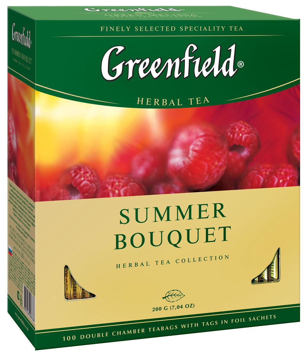 Greenfield Summer Bouquet фруктовый чай в пакетиках, 100 шт0878-09Яркий аромат спелой малины выступает доминантой композиции фруктового Greenfield Summer Bouguet. Характерный вкус шиповника смягчает острую кислинку гибискуса и вносит завершающую ноту в экзотическое звучание Greenfield Summer Bouguet. Не содержит кофеина, прекрасно освежает и утоляет жажду. Можно употреблять охлажденным.