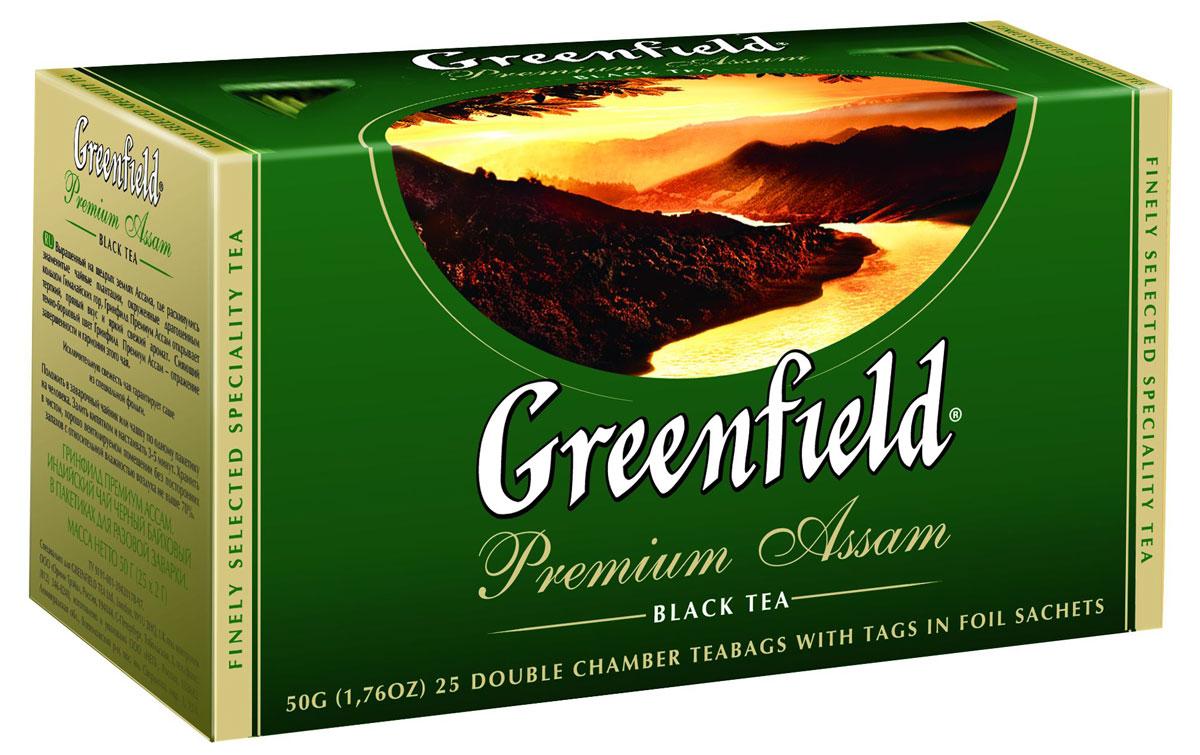 Greenfield Premium Assam черный чай в пакетиках, 25 шт0120710Выращенный на щедрых землях Ассама, где раскинулись знаменитые чайные плантации, окруженные драгоценным кольцом Гималайских гор, Greenfield Premium Assam открывает терпкий, пряный вкус и яркий, свежий аромат. Сияющий темно-бордовый цвет Greenfield Premium Assam - отражение завершенности и гармонии этого чая.