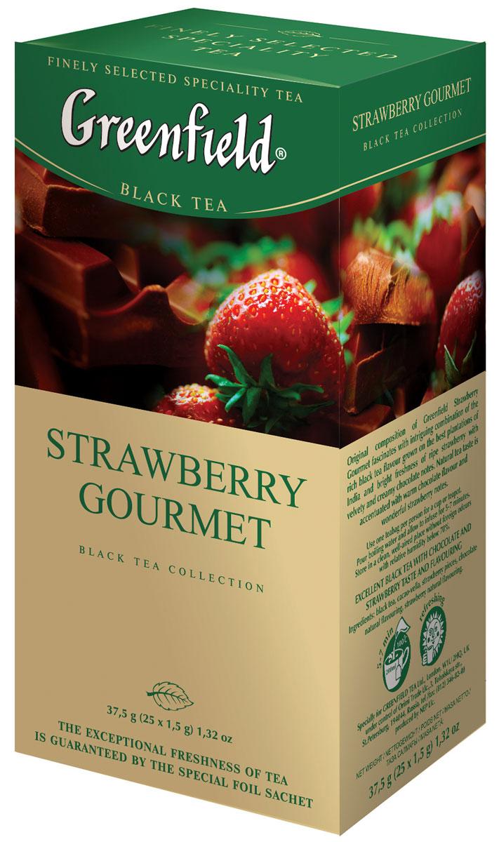 Greenfield Strawberry Gourmet черный чай в пакетиках, 25 шт0120710Непревзойденная композиция Greenfield Strawberry Gourmetпленяет интригующим сочетанием насыщенного вкуса черного чая, выращенного на лучших плантациях Индии, с яркой свежестью спелой клубники и бархатно-сливочными оттенками шоколада. Природный естественный аромат чая усилен теплой волной шоколада и великолепными клубничными нотами.