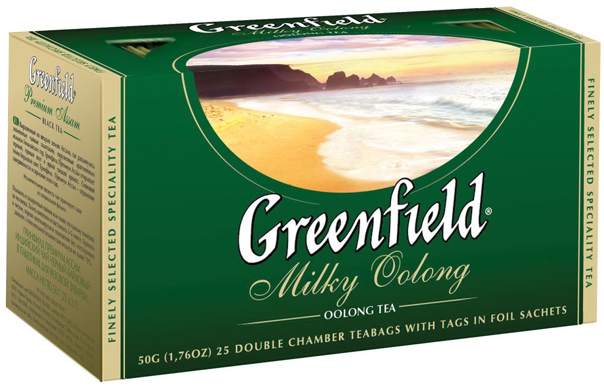 Greenfield Milky Oolong зеленый чай в пакетиках, 25 шт0120710Наполненный мягкий вкус и долгое сладковатое послевкусие редкого полуферментированного чая Oolong превосходно сочетаются с тонкими молочно-сливочными нотами, которые завершают выразительный букет Greenfield Milky Oolong.