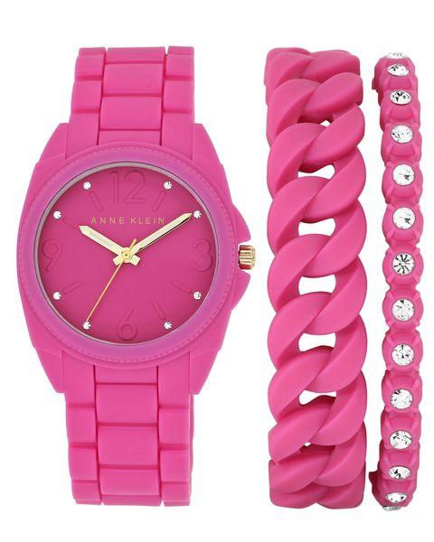 Часы наручные женские Anne Klein 1956PKST, цвет: розовыйBM8434-58AEКорпус: силикон цвета фуксия, 36 мм, стекло: минеральное, браслет и безель: силикон цвета фуксия, 2 дополнительных браслета, кристаллы Swarovski, механизм: кварцевый, водозащита:3 АТМ
