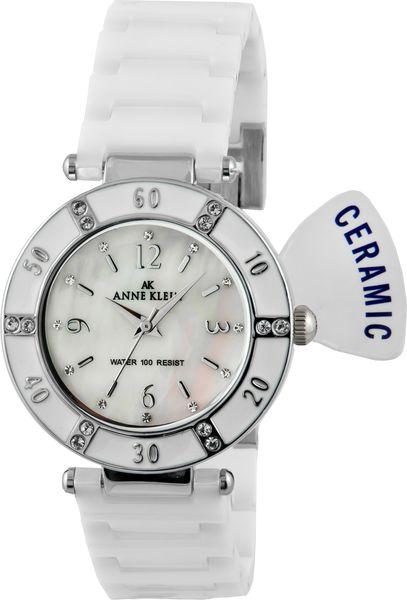 Часы наручные женские Anne Klein 9417WTWT, цвет: белый, стальнойBM8434-58AEКорпус: металл, PVD - покрытие, инкрустирован кристаллами Swarovski, стекло: минеральное, браслет: керамический, механизм: кварцевый, водозащита: 3 ATM