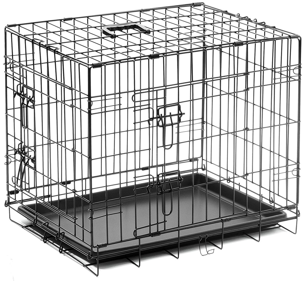 Клетка для собак V.I.Pet, с поддоном, двухдверная, 60 см х 45 см х 50 см06002Металлическая клетка для собак V.I.Pet отлично подойдет для перевозки вашего питомца в машине, а также для удобного размещения дома или на выставке. Клетка оборудована пластиковым поддоном и прорезиненными ножками, предотвращающими скольжение клетки по полу и защищающими пол от царапин.Изделие имеет две дверцы - одну спереди и одну сбоку. Фиксируются дверцы при помощи надежных замков. Клетка легко и просто собирается без инструментов. Для удобства переноски изделие оснащено удобной пластиковой ручкой.