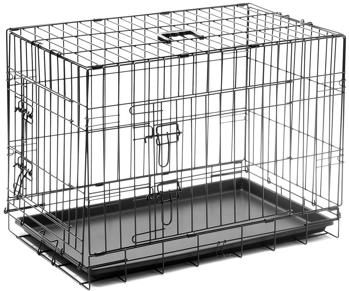 Клетка для собак V.I.Pet, с поддоном, двухдверная, 75 х 48 х 53 см0120710Металлическая клетка для собак V.I.Pet отлично подойдет для перевозки вашего питомца в машине, а также для удобного размещения дома или на выставке. Клетка оборудована пластиковым поддоном и прорезиненными ножками, которые предотвращают скольжение клетки по полу. Изделие имеет две дверцы - одну спереди и одну сбоку. Фиксируются дверцы при помощи надежных замков. Клетка легко и просто собирается без инструментов. Для удобства переноски изделие оснащено удобной пластиковой ручкой.