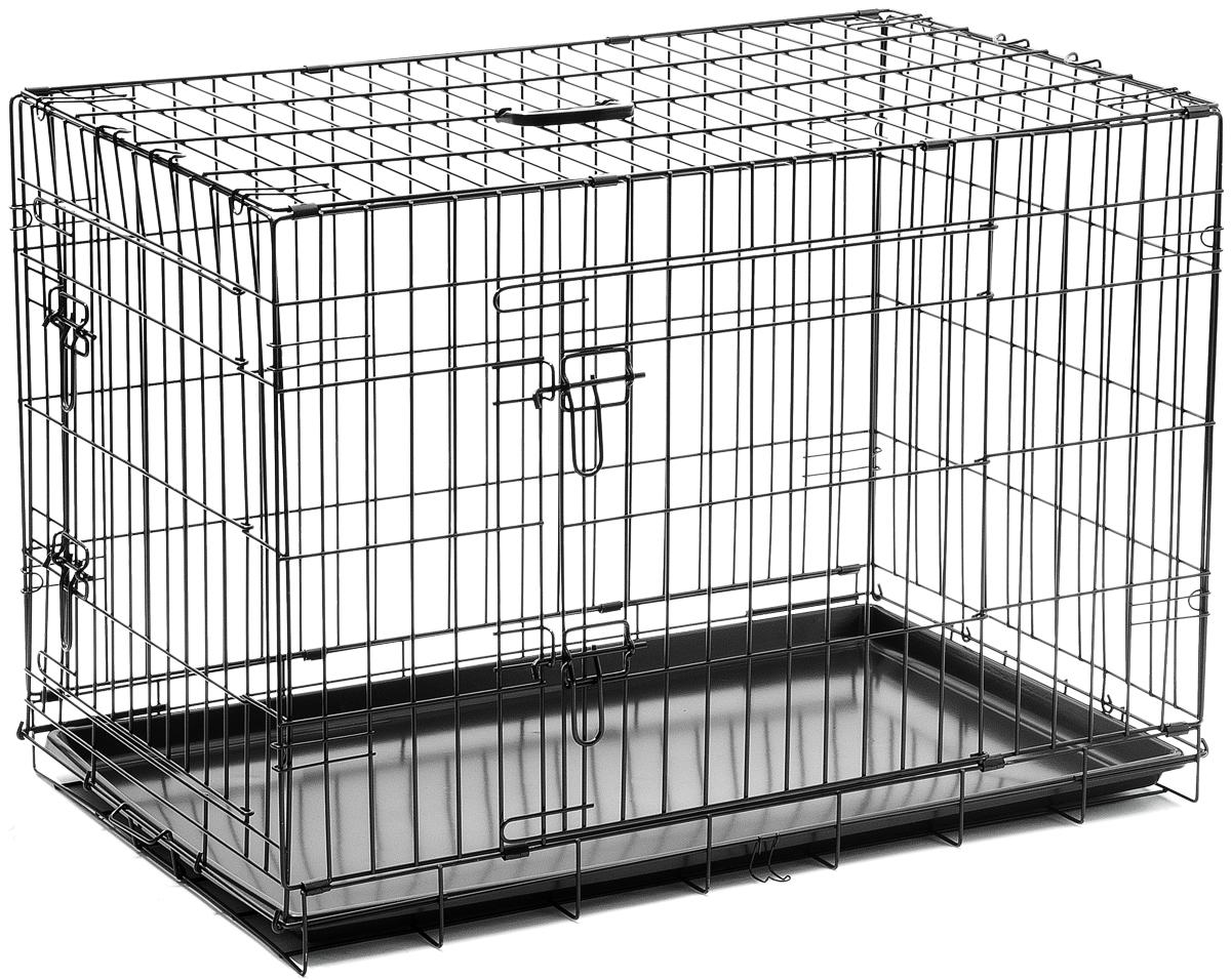 Клетка для собак V.I.Pet, с поддоном, двухдверная, 90 х 58 х 65 см06003Металлическая клетка для собак V.I.Pet отлично подойдет для перевозки вашего питомца в машине, а также для удобного размещения дома или на выставке. Клетка оборудована пластиковым поддоном и прорезиненными ножками, которые предотвращают скольжение клетки по полу. Изделие имеет две дверцы - одну спереди и одну сбоку. Фиксируются дверцы при помощи надежных замков. Клетка легко и просто собирается без инструментов. Для удобства переноски изделие оснащено удобной пластиковой ручкой.