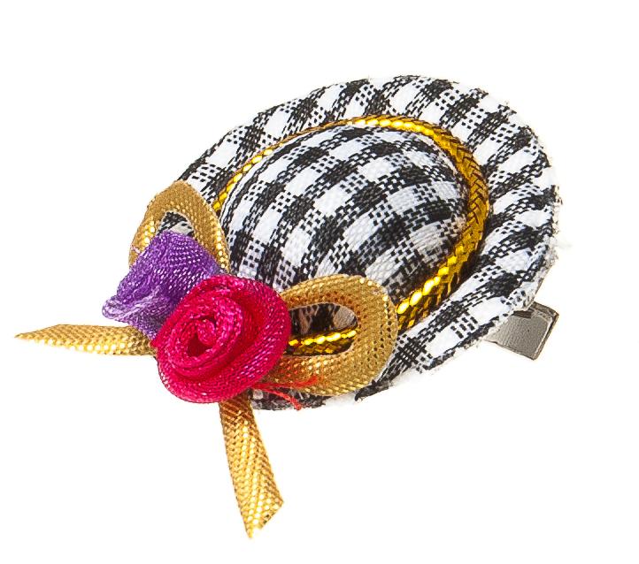 Заколка-шляпка для собак VIPet Ностальжи, цвет: черный, белый, диаметр 3,5 см0120710Заколка-шляпка VIPet Ностальжи - это красивое и стильное украшение для собак. Заколка прекрасно крепится на волосах и позволяет фиксировать шерсть. Выполнена из стали, пластика и тканей различных структур, плотностей и фактур.