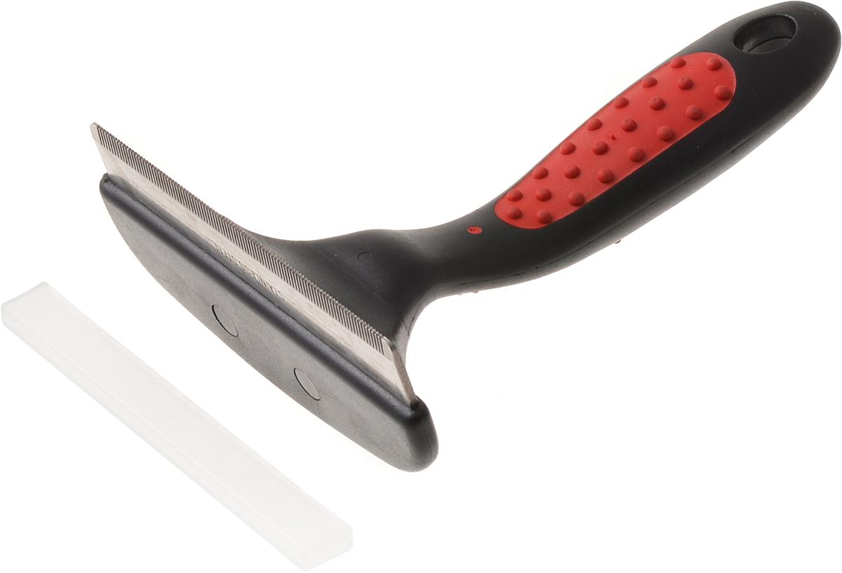 Фурминатор для животных Hello Pet, супер большой, 97 зубьев0120710Фурминатор для животных Hello Pet позволит провести процедуру вычесывания омертвевшей шерсти очень эффективно, без неприятных ощущений. Его размер позволяет сделать это быстро большой, как длинношерстной, так и короткошерстной собаке. Отлично подойдет для таких пород собак, как немецкая овчарка, лабрадор, лайка и т.д. Фурминатор на 90% уменьшает линьку, и это значит, что утомительной уборки не будет. Кроме этого, он избавляет собаку с длинной шерстью от образования колтунов. А за счет того, что он равномерно распределяет натуральный кожный жир по всей длине каждой шерстинки, это позволяет ей выглядеть блестящей и ухоженной. Не рекомендуется использовать фурминатор для вычесывания пуделей, ши-тцу, пули и австралийских шелковистых терьеров, поскольку порода может не иметь подшерстка или же подобный способ не применяется из-за структуры их шерсти.