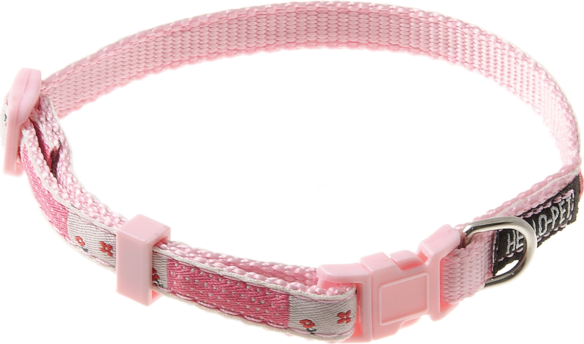Ошейник для собак Hello Pet Цветочки, цвет: розовый, 10 мм, 23-35 см0120710Ошейник для собак Hello Pet Цветочки изготовлен из прочных материалов и легко регулируется. Оснащен пластиковой застежкой (фастекс), которая обеспечивает безопасность вашего питомца - в случае резкого рывка ошейник не раскроется.