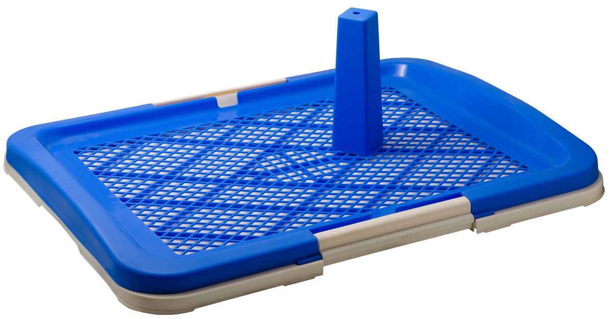Туалет для собак V.I.Pet Японский стиль, со столбиком, цвет: синий, молочный, 63 х 48 х 6 см14208(0224)Туалет для собак V.I.Pet Японский стиль, изготовленный из нетоксичного пластика, предназначен для собак и щенков. Съёмный столбик легко крепится на решетку и позволяет применять туалет независимо от пола собаки. Гигиеническая пелёнка помещается под решетку, которая удерживается боковыми фиксаторами.Туалет легко моется водой.