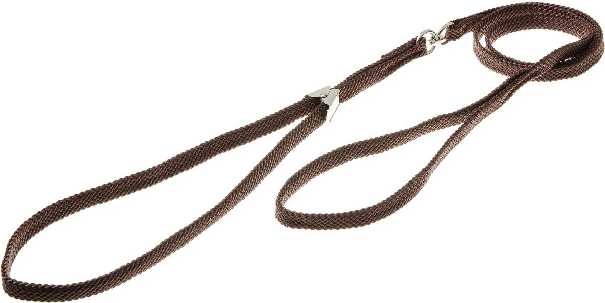 Ринговка V.I.Pet, с прищепкой, цвет: коричневый. PEQ-10шлкРинговка V.I.Pet - это специальный поводок, состоящий из петли с фиксатором и, собственно, поводка. Выполнена из нейлона, фурнитура - из высококачественной стали. Ринговка является самым распространенным видом амуниции для показа собаки на выставке или занятий рингдрессурой. Ринговку подбирают в тон окраса собаки, если собака пятнистая - то в тон преобладающего окраса или, наоборот, контрастную.