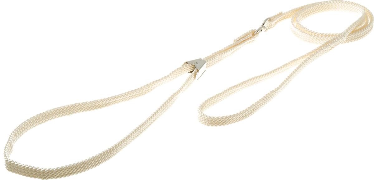 Ринговка V.I.Pet, с прищепкой, цвет: слоновая кость. PEQ-1092500Ринговка V.I.Pet - это специальный поводок, состоящий из петли с фиксатором и, собственно, поводка. Выполнена из нейлона, фурнитура - из высококачественной стали. Ринговка является самым распространенным видом амуниции для показа собаки на выставке или занятий рингдрессурой. Ринговку подбирают в тон окраса собаки, если собака пятнистая - то в тон преобладающего окраса или, наоборот, контрастную.