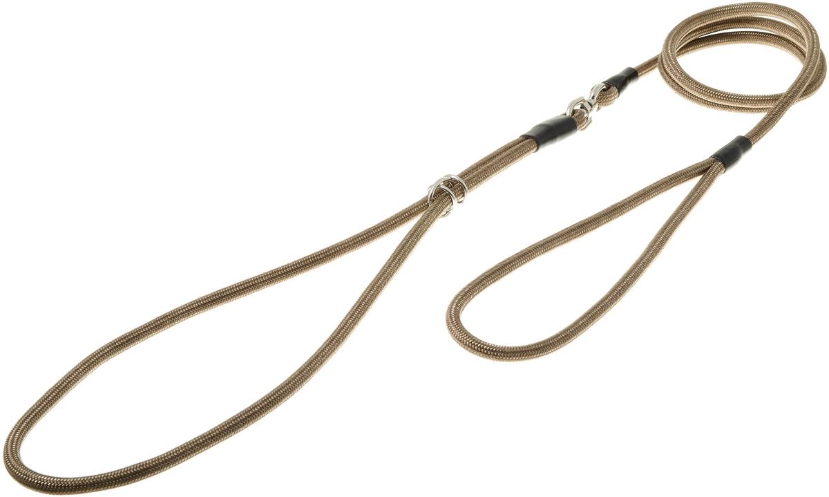 Ринговка круглая V.I.Pet, цвет: оливковый, 6 мм. PEW60120710Ринговка V.I.Pet - это специальный поводок, состоящий из петли с фиксатором и, собственно, поводка. Выполнена из нейлона, фурнитура - из высококачественной стали. Ринговка является самым распространенным видом амуниции для показа собаки на выставке или занятий рингдрессурой. Ринговку подбирают в тон окраса собаки, если собака пятнистая - то в тон преобладающего окраса или, наоборот, контрастную. Диаметр: 6 мм.