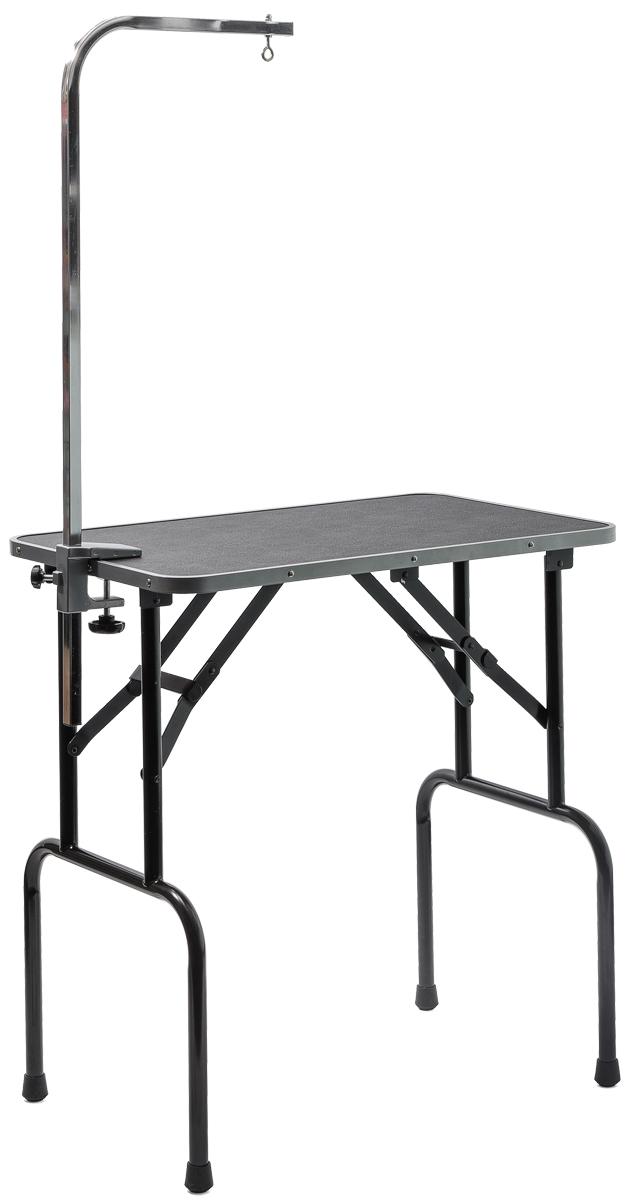 Стол для груминга V.I.Pet Профи, складной, с кронштейном, 76 см х 47 см х 83 см67155Складной стол для груминга V.I.Pet Профи предназначен для стрижки собак и других животных. Стол оснащен столешницей с противоскользящим покрытием, не регулируемыми ножками и кронштейном, к которому можно прикрепить петлю (не входит в комплект) для фиксации животного в определенном положении при проведении процедур по уходу за шерстью шеи и головы. Удобный столV.I.Pet Профи легко складывается для транспортировки в багажнике автомобиля. Размер столешницы: 76 см х 47 см. Размеры в сложенном состоянии: 85 см х 48 см х 8 см. Максимальный вес питомца: 50 кг. Вес стола: 9,4 кг.Товар сертифицирован.
