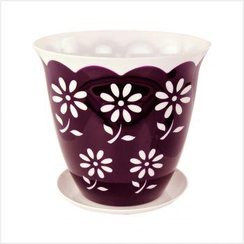 Горшок цветочный 3л Соблазн с поддоном; фиолетовыйМ1921Горшок цветочный 3л Соблазн с поддоном; фиолетовый