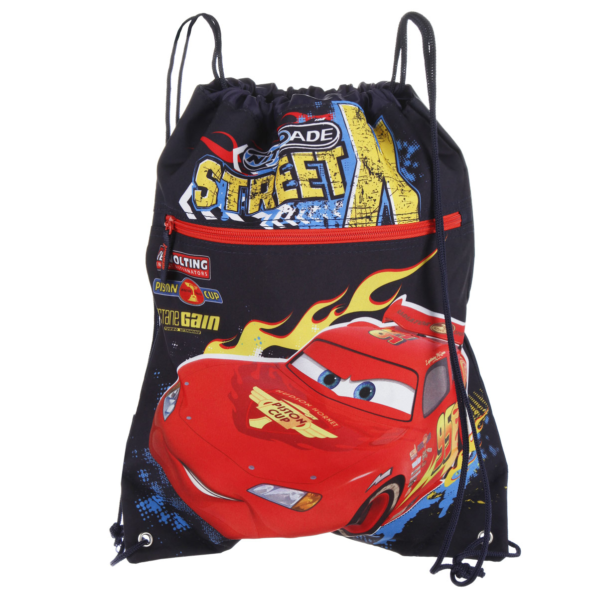 Cars Сумка-рюкзак для обуви цвет темно-синий красный CRCB-RT2-88072523WDСумка для сменной обуви Cars идеально подойдет как для хранения, так и для переноски сменной обуви и одежды. Сумка выполнена из прочного полиэстера и содержит одно вместительное отделение, затягивающееся с помощью текстильных шнурков. Шнурки фиксируются в нижней части сумки, благодаря чему ее можно носить за спиной как рюкзак. Имеется фронтальный карман на застежке-молнии.Оформлено изделие изображением персонажа мультфильма Тачки.