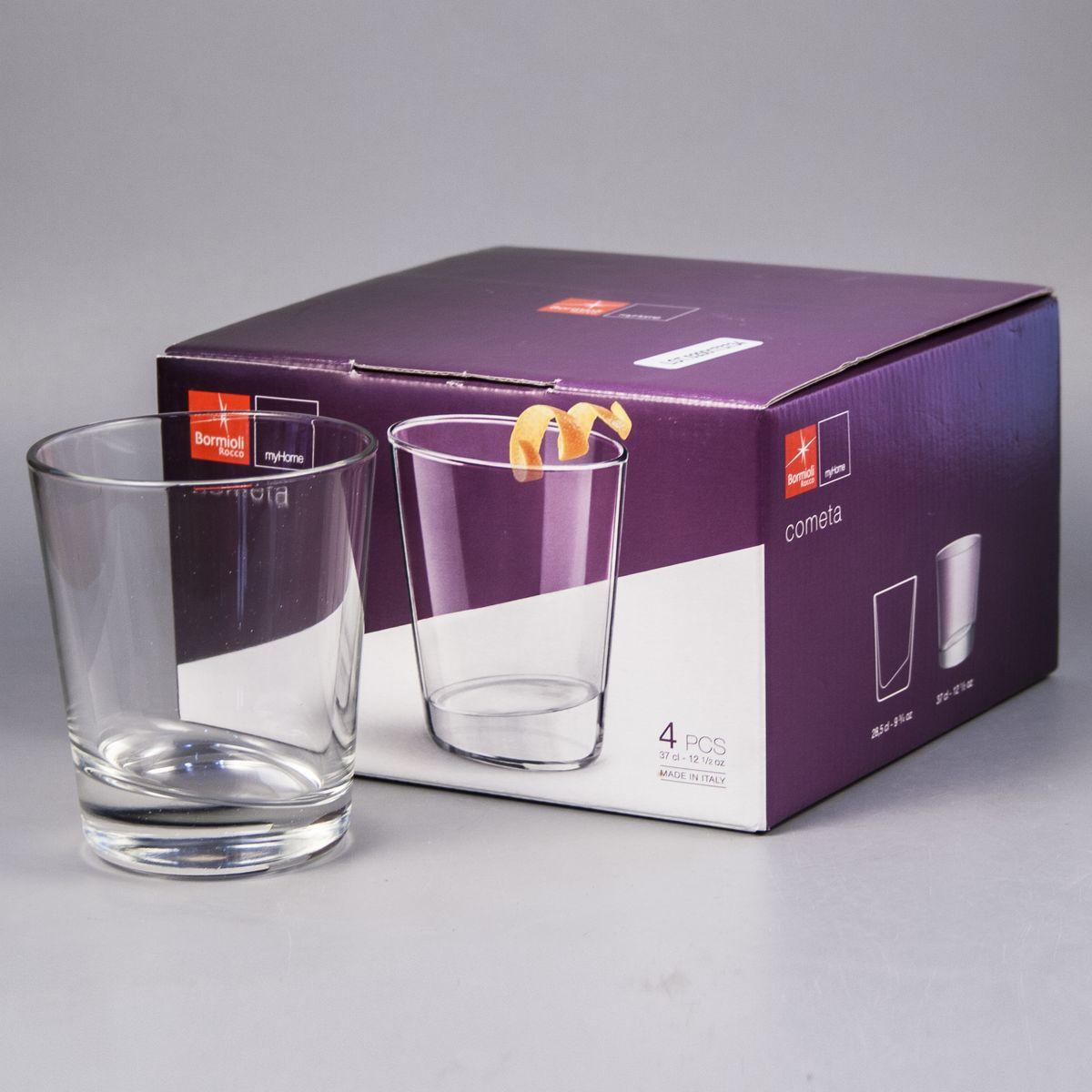 Набор стаканов Bormioli Rocco Cometa, 370 мл, 4 шт235120G10021990Набор Bormioli Rocco Cometa состоит из четырех высоких стаканов, выполненных из высококачественного стекла. Изделия предназначены для подачи холодных напитков. Они сочетают в себе элегантный дизайн и функциональность. Благодаря такому набору пить напитки будет еще приятнее.Набор стаканов Bormioli Rocco Cometa идеально подойдет для сервировки стола и станет отличным подарком к любому празднику.Характеристики:Объем стакана: 370 мл.