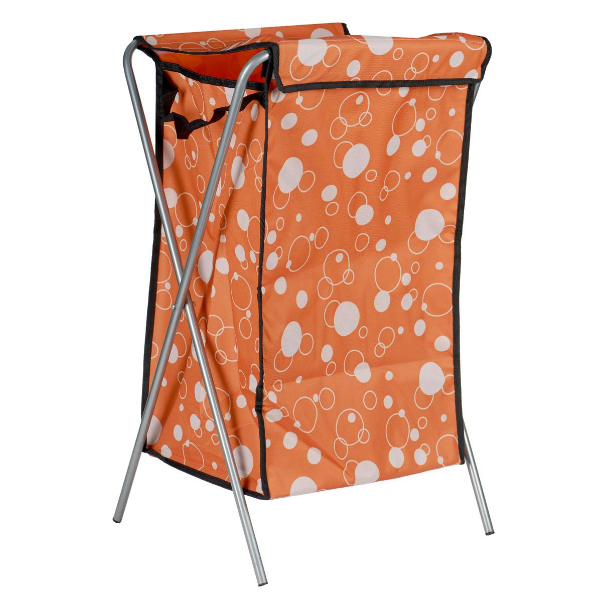 Корзина для белья Пузыри, цвет: оранжевый, 40 см х 40 см х 65 см391602Корзина для белья изготовлена из высококачественного цветного полиэстера, декорирована ярким красочным рисунком и предназначена для сбора и хранения вещей перед стиркой. Корзина имеет алюминиевый складывающийся каркас. Компактная и легкая, она не занимает много места, аккуратно хранит белье. Изделие оснащено крышкой из полиэстера. Такая корзина станет незаменимым аксессуаром ванной комнаты.