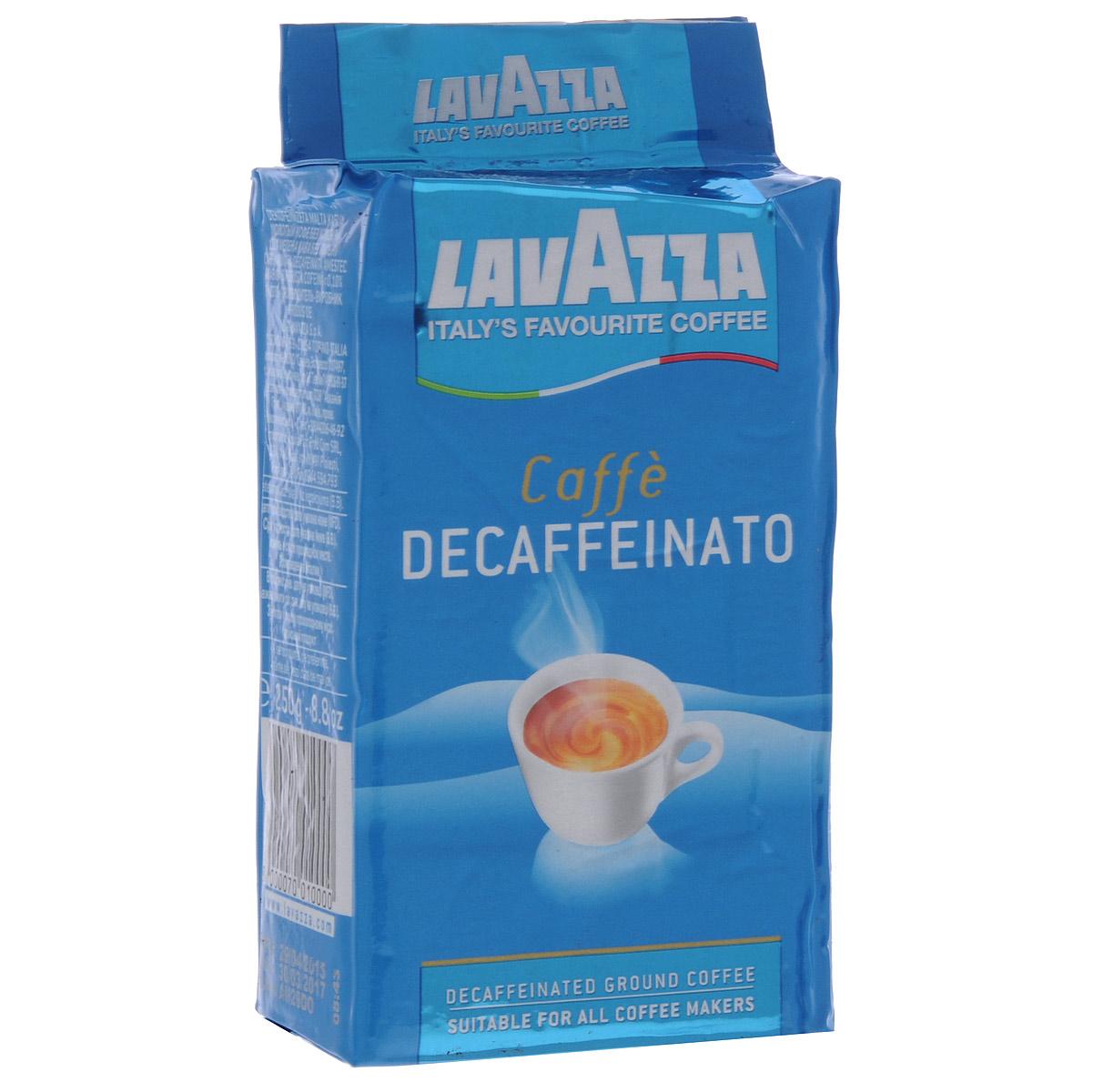 Lavazza Decaffeinato кофе молотый, 250 г (в/у)1000Lavazza Decaffeinato - бодрящий напиток без кофеина. Он изготовлен из лучших сортов азиатской робусты и бразильской арабики. Нежный вкус и яркий аромат молотого кофе Lavazza Decaffeinato придадут бодрости и сил. Настоящая находка для тех кто ищет кофе без кофеина,c безупречным качеством Lavazza!